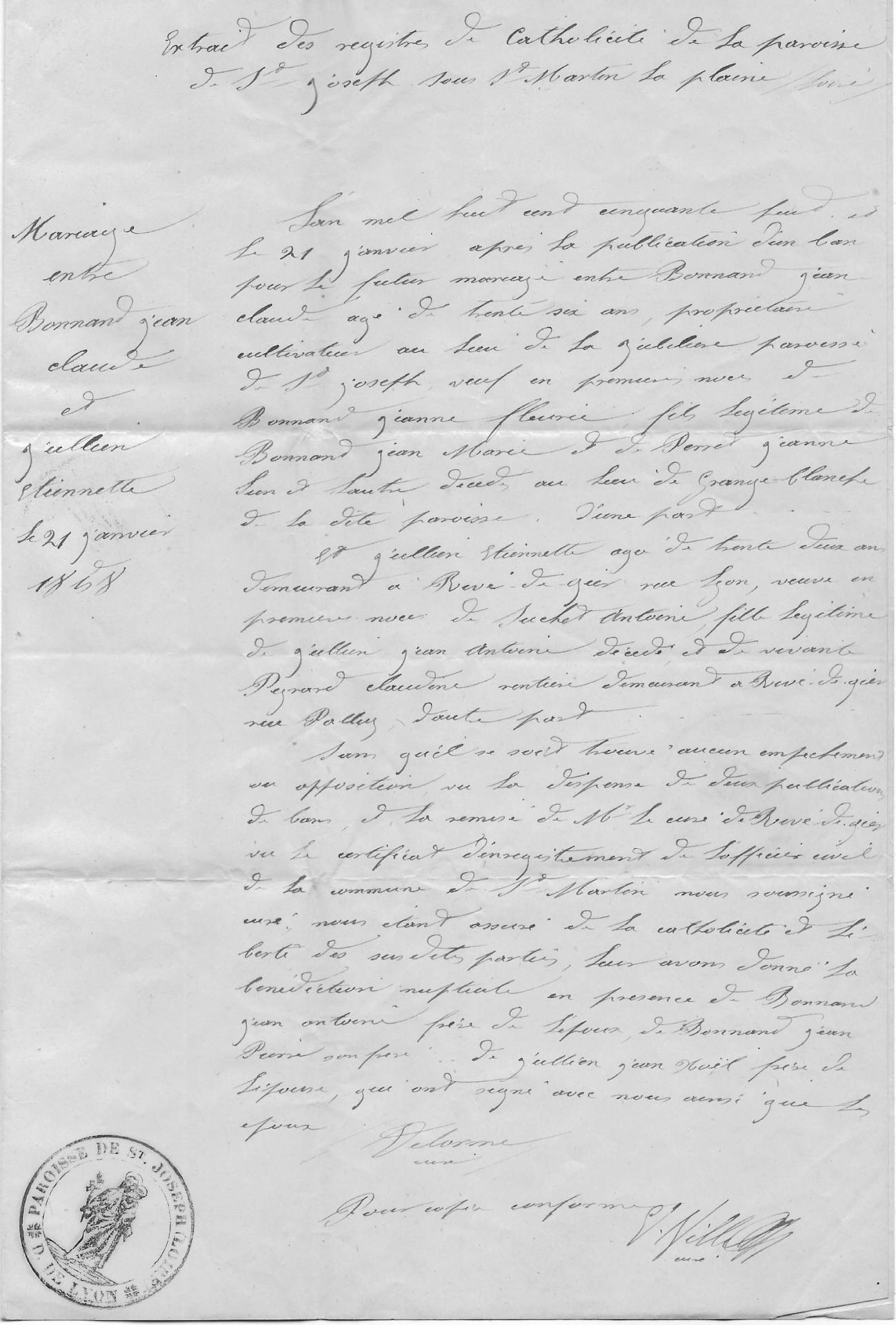 Acte de mariage 1858