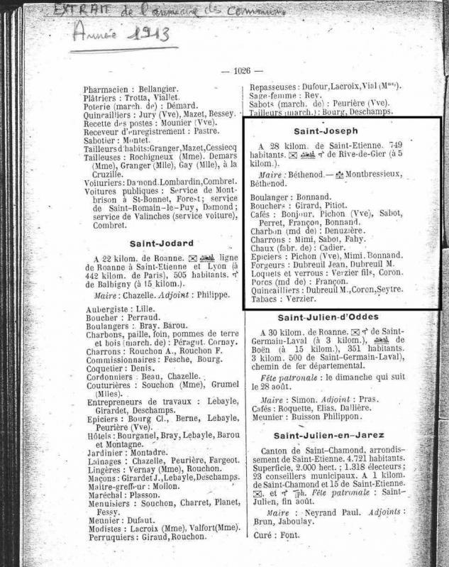 Annuaire commune 1913