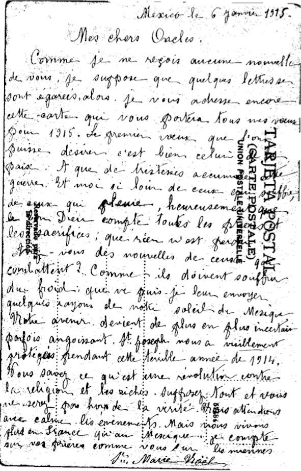 Lettre de mexico 9 01 1915